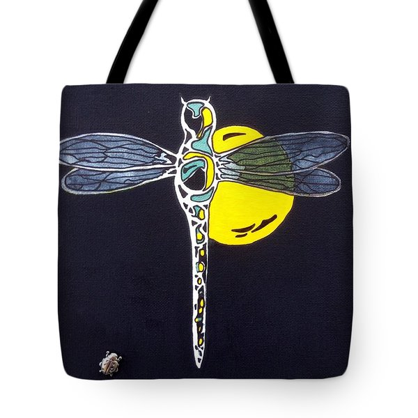Tote Bag featuring the painting Black Dragon by Pat Purdy