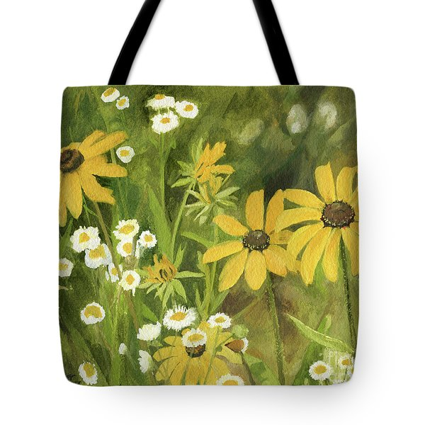 Black-eyed Susans In A Field Tote Bag by Laurie Rohner