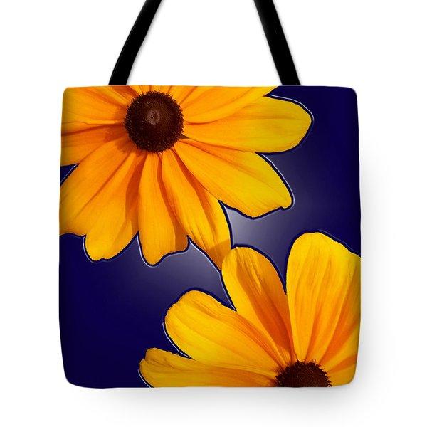 Black-eyed Susans On Blue Tote Bag