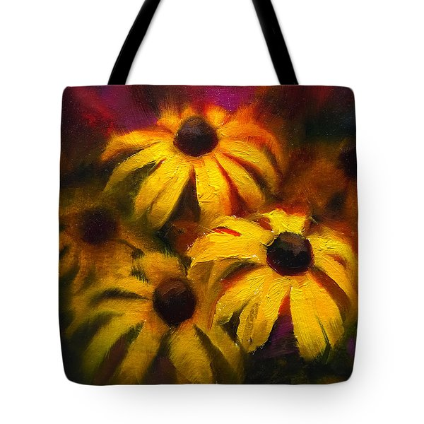 Tote Bag featuring the painting Black Eyed Susans - Vibrant Flowers by Karen Whitworth