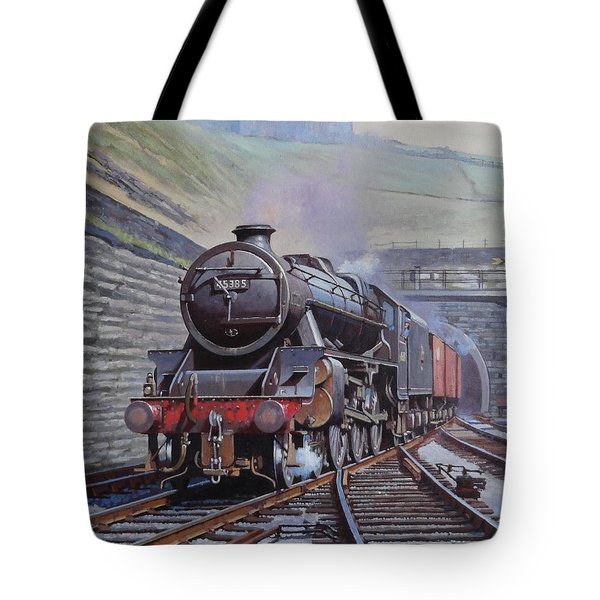 Tote Bag featuring the painting Black Five On Goods. by Mike  Jeffries