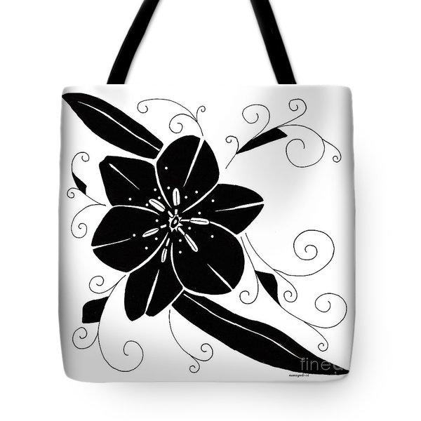 Black Flower Illustration Tote Bag