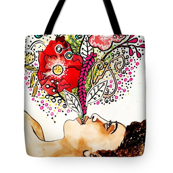 Black Flowers Tote Bag by Amy Sorrell