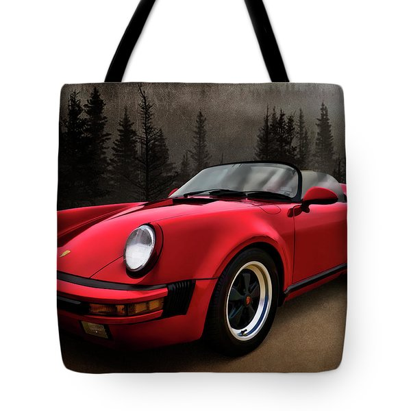 Black Forest - Red Speedster Tote Bag by Douglas Pittman