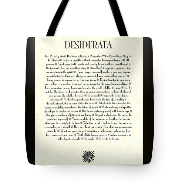 Black Border Sunburst Desiderata Poem Tote Bag