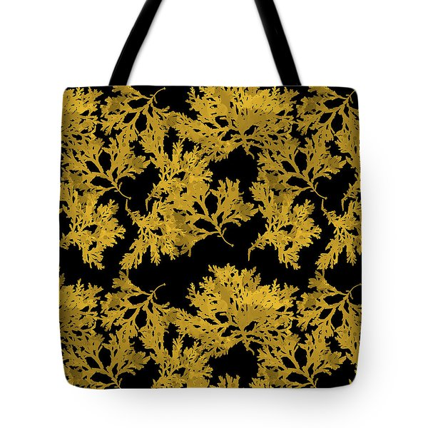Tote Bag featuring the mixed media Black Gold Leaf Pattern by Christina Rollo