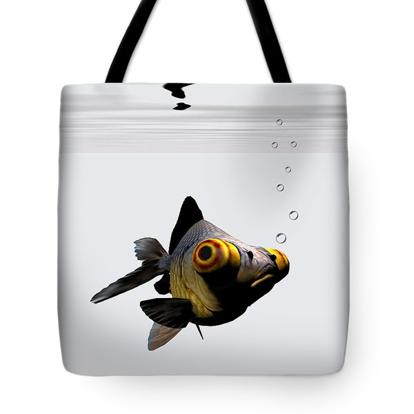 Black Goldfish Tote Bag by Corey Ford