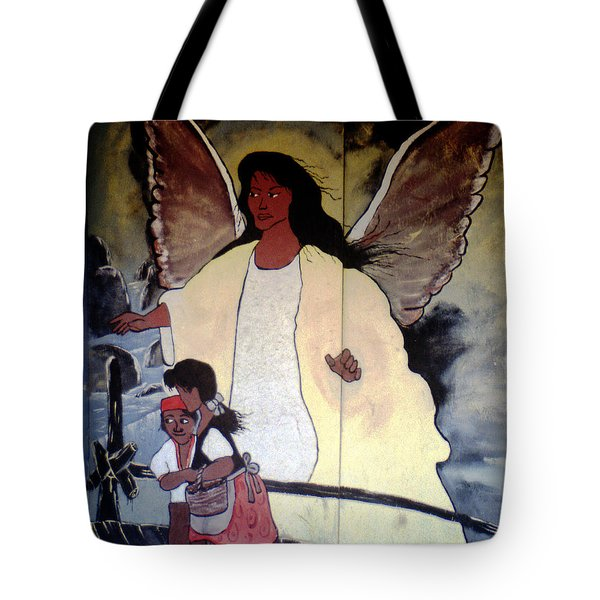Black Guardian Angel Mural Tote Bag
