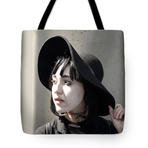 Tote Bag featuring the photograph Black Hat Black Dress by Viktor Savchenko