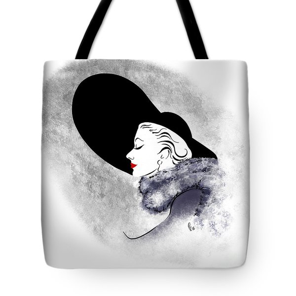 Tote Bag featuring the digital art Black Hat Red Lips by Cindy Garber Iverson