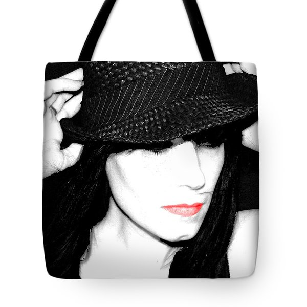Tote Bag featuring the painting Black Hat by Tbone Oliver