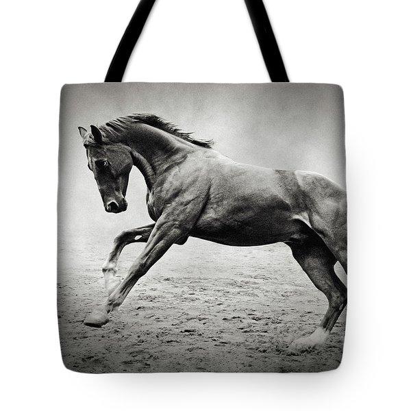 Black Horse In Dust Tote Bag