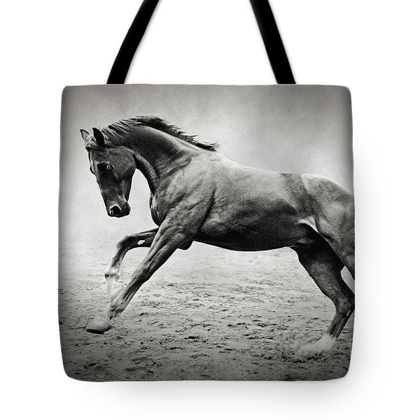 Black Horse In Dust Tote Bag