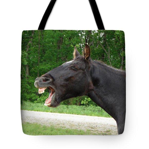 Black Horse Laughs Tote Bag