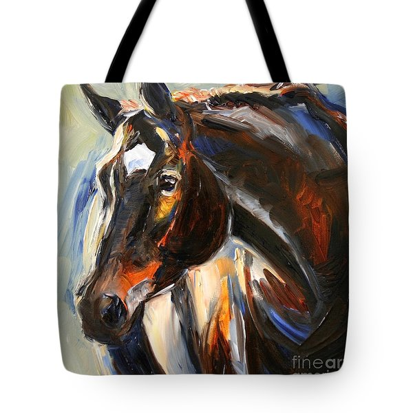 Black Horse Oil Painting Tote Bag
