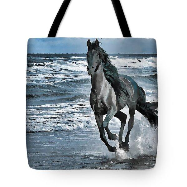 Black Horse Running Through Water Tote Bag by Lanjee Chee