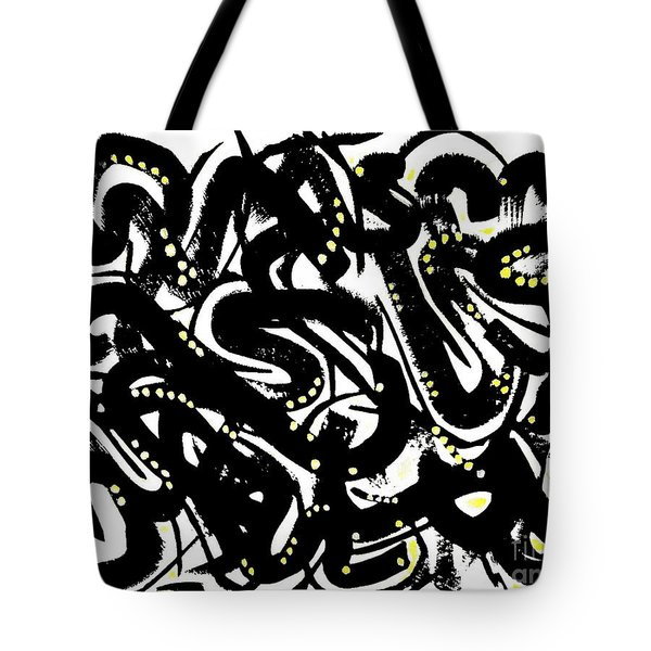 Black Ink Gold Paint Tote Bag