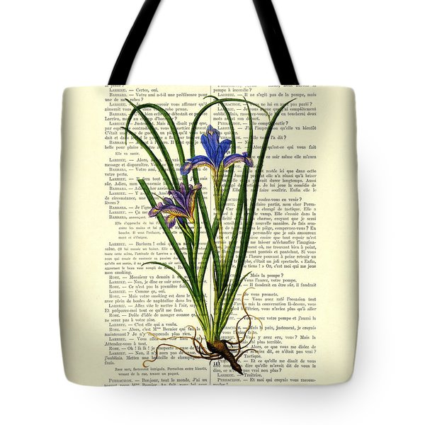 Black Iris Antique Illustration On Dictionary Page Tote Bag