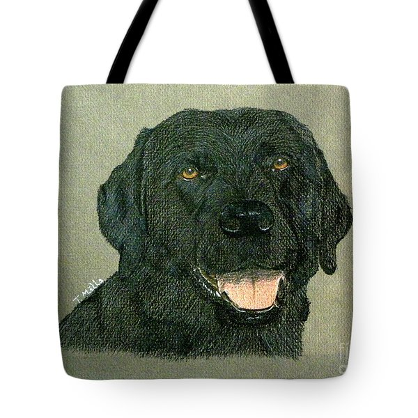 Tote Bag featuring the drawing Black Labrador Retriever by Terri Mills