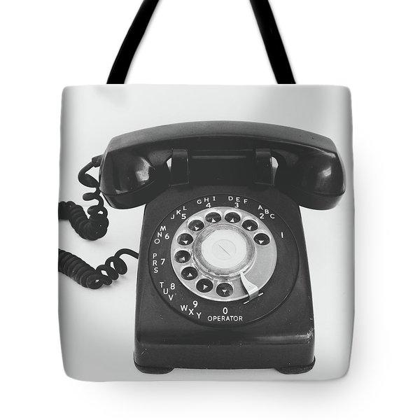 Black Landline Phone- Art By Linda Woods Tote Bag