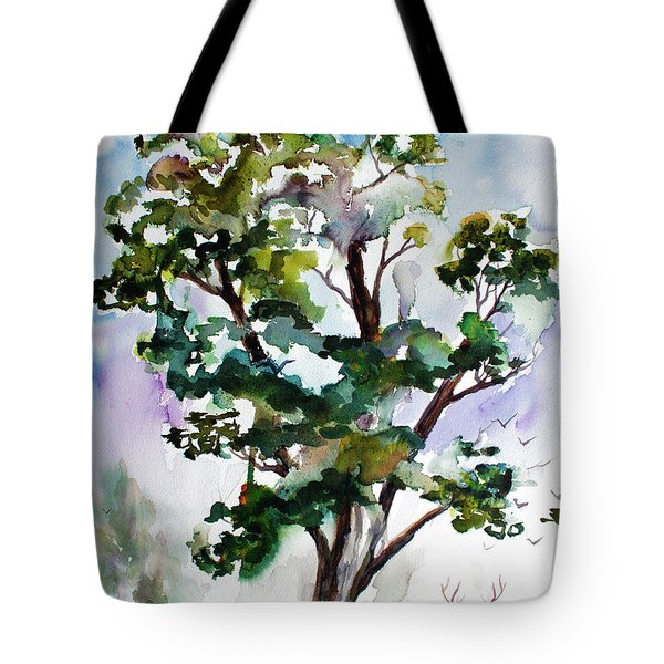 Black Locust Tree And Deer Landscape Portrait Tote Bag