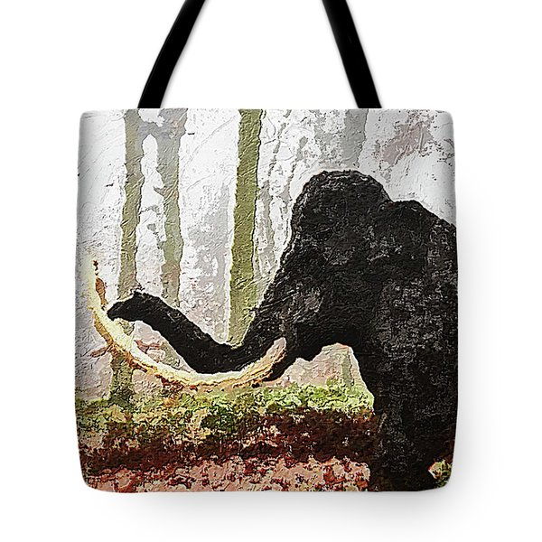Tote Bag featuring the digital art Black Mammoth by PixBreak Art