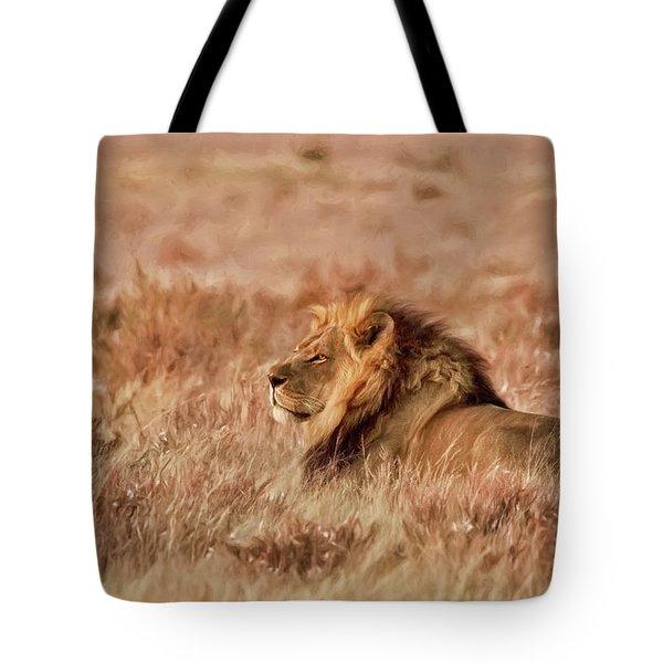 Black-maned Lion Of The Kalahari Waiting Tote Bag