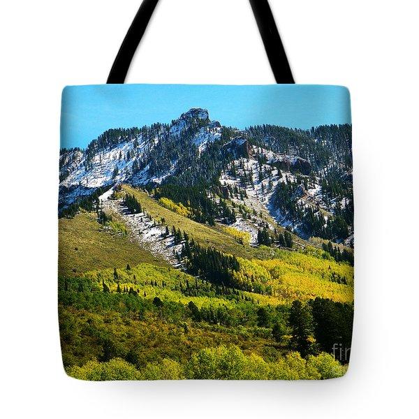 Black Mesa Rocky Peak In Autumn Tote Bag