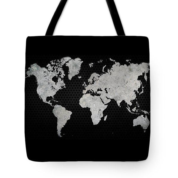 Black Metal Industrial World Map Tote Bag by Douglas Pittman