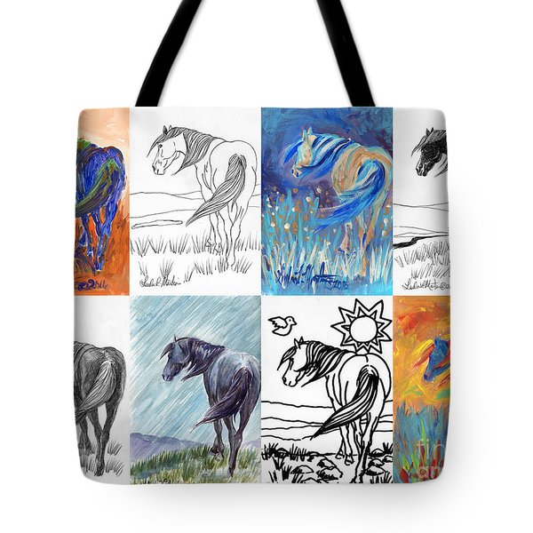 Black Mustang Sampler Tote Bag