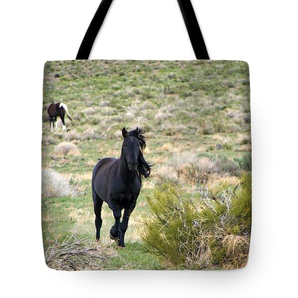 Black Mustang Stallion Running Tote Bag
