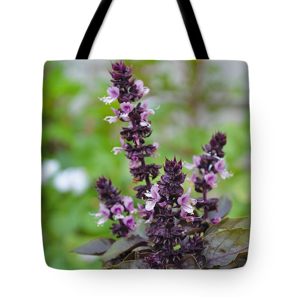 Black Opal Basil Flower Tote Bag