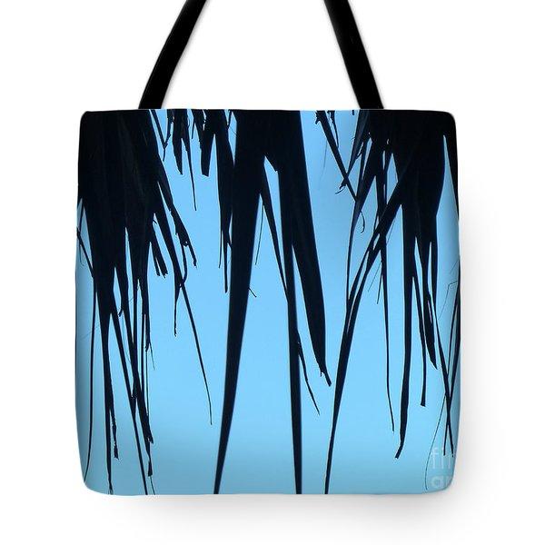 Black Palms On Blue Sky Tote Bag