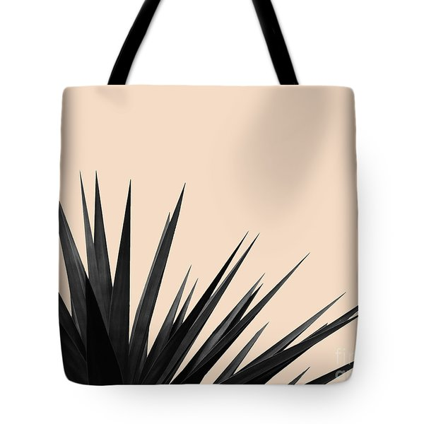Black Palms On Pale Pink Tote Bag