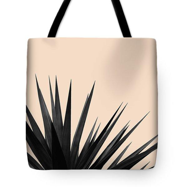 Black Palms On Pale Pink Tote Bag