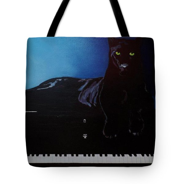 Black Panther And His Piano Tote Bag
