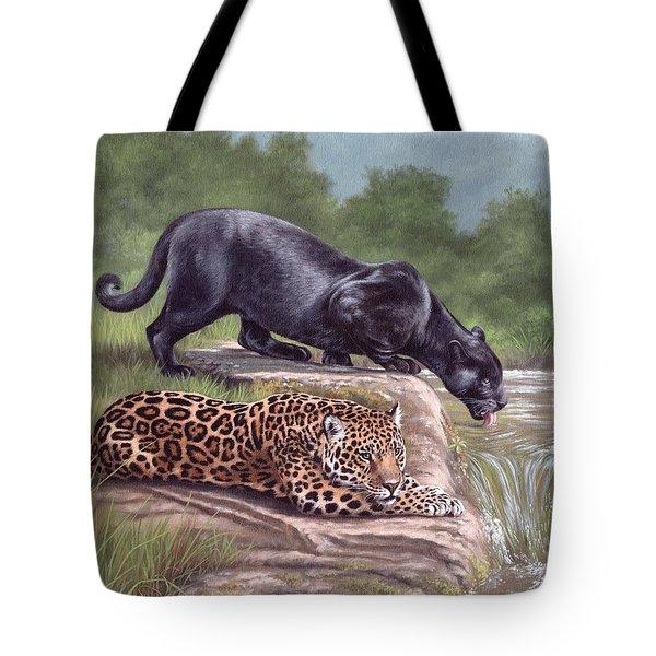 Black Panther And Jaguar Tote Bag