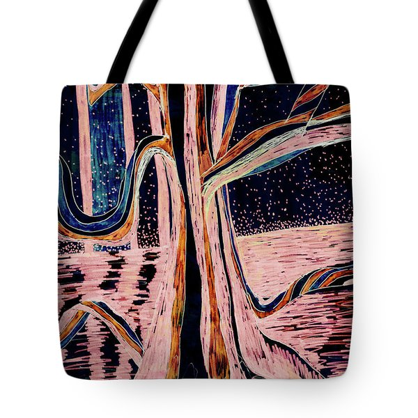 Black-peach Moonlight River Tree Tote Bag