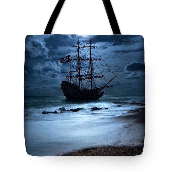 Black Pearl Pirate Ship Landing Under Full Moon Tote Bag