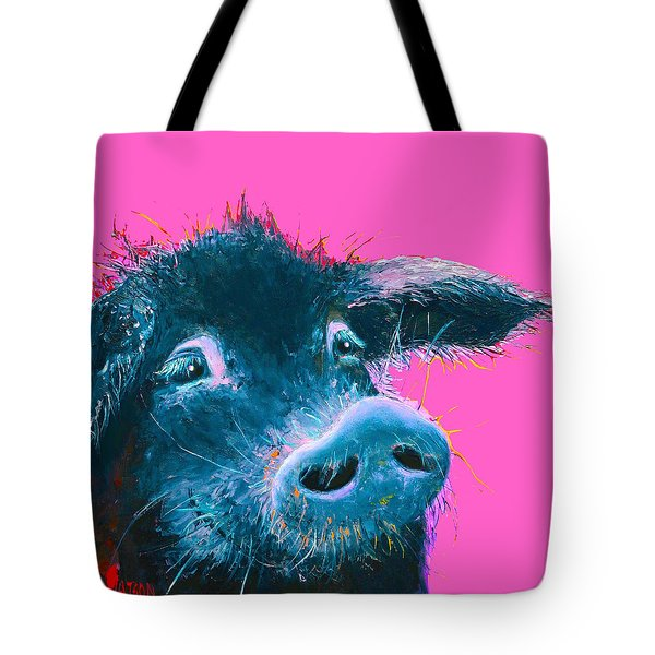 Black Pig Painting On Pink Background Tote Bag