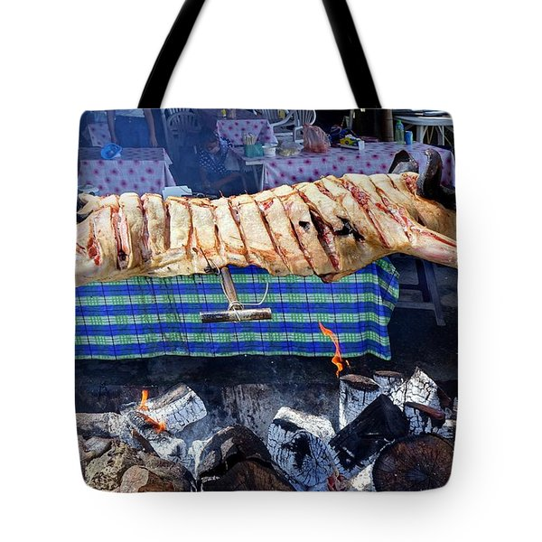 Tote Bag featuring the photograph Black Pig Spit Roasted In Taiwan by Yali Shi
