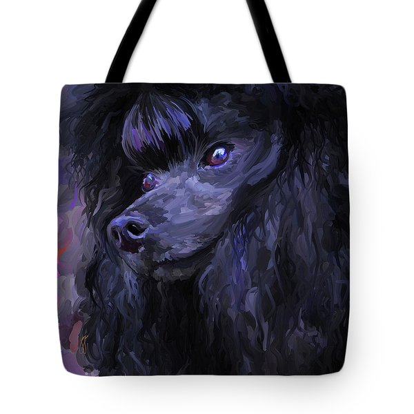 Black Poodle - Square Tote Bag