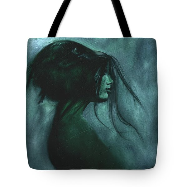 Tote Bag featuring the painting Black Raven by Ragen Mendenhall