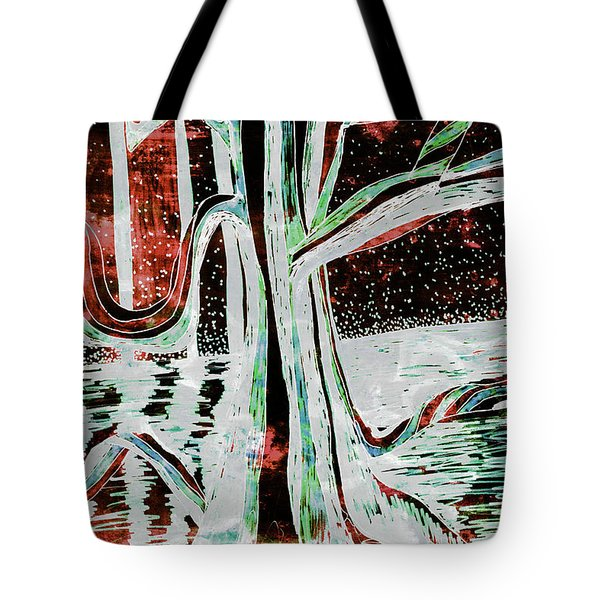 Black-red Moonlight River Tree Tote Bag