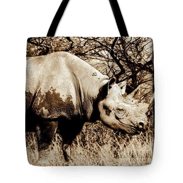 Black Rhino And Youngster Tote Bag