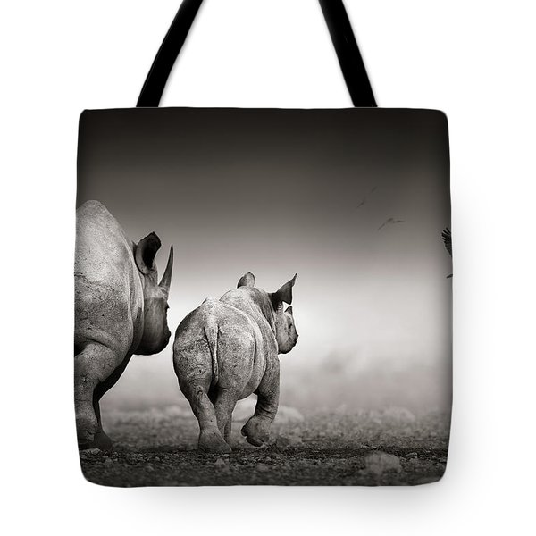 Black Rhino Cow With Calf  Tote Bag