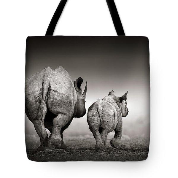 Black Rhino Cow With Calf  Tote Bag