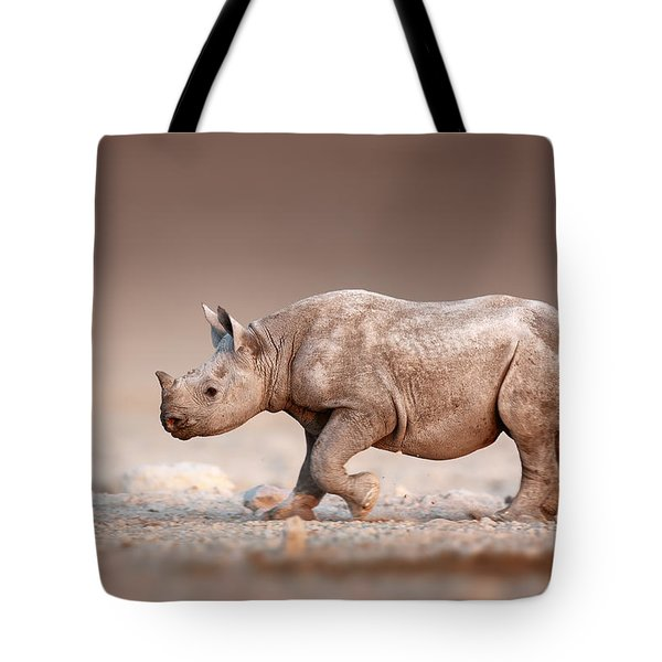 Black Rhinoceros Baby Running Tote Bag
