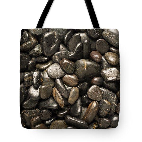 Black River Stones Square Tote Bag by Steve Gadomski