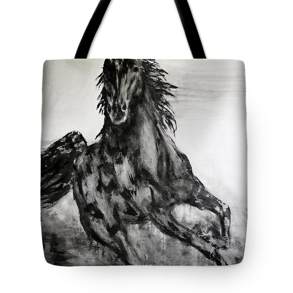 Black Runner Tote Bag by Jennifer Godshalk